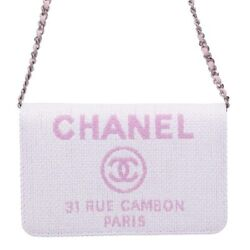 CHANEL Deauville Chain Shoulder Bag Wallet Pink A80795 Woman Auth New Guarantee
