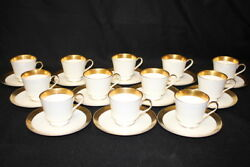 Set Of 12 Vintage Mikasa Harrow White, Gold Band Footed Cup And Saucer Sets A1-129