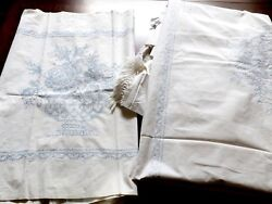 Antique Vtg Bedspread Top Pillow Cover Or Table Runners Handmade Cross Stitch