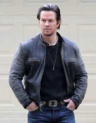 Daddyand039s Home Mark Wahlberg Distressed Black Leather Jacket