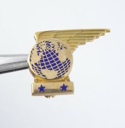 Vtg 1940's Pan Am Airlines Paa Wings 10 Years Of Service Star 10k Gold Pin