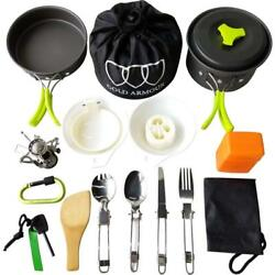 17Pcs Camping Cookware Mess Kit Backpacking Gear Hiking Bug Out Cookset Green $49.29