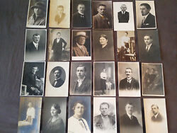Lot 24 Pieces Old Photo Cabinet Postcard Europe Old Man Girls Women Student