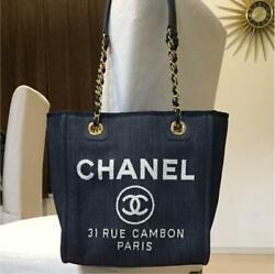 CHANEL Deauville Tote Chain Shoulder Bag Canvas Woman Auth New Unused Guarantee