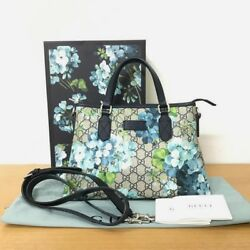 GUCCI GG Blooms Shoulder Bag Handbag Crossbody Floral GG Supreme Woman Auth Used