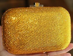 Judith Leiber SUNFLOWER YELLOW SILVER Slide Lock Evening Bag Clutch HANDBAG BOX