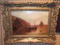 Devon Coast Listed Art Sail Ships Boats Fishing Antique Oil Painting Waterscape