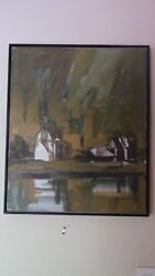 Ron Ketchum Abstract Chapel And Houses. Frame Size 21 By 25.