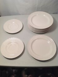 Sunmarc White Wicker Stoneware Japan 8 Dessrt Plates And 2 Saucers