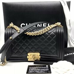 CHANEL BOY LAMBSKIN GOLD Hardware PRE-OWNED 100% AUTHENTIC