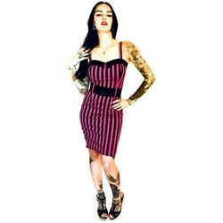 Switchblade Stiletto Stripe Darling Dress PinkBlack Retro Rockabilly Pin Up