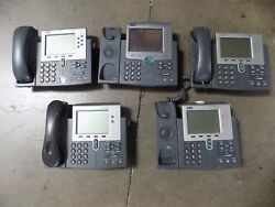 Lot Of 5 Cisco Unified Ip Phone 7941 - 7970 - 7961 -