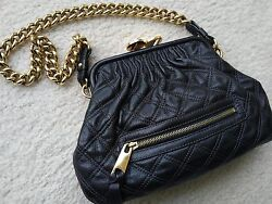 Marc Jacobs Little Stam black quilted leather gold-tone chain purse evening bag