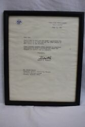 Vice President Hubert H. Humphrey Signed And Framed Typed Letter July 11, 1967
