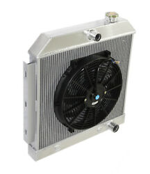 3 Core Performance Radiator+14 Fan For 55-57 Chevy Bel Air/ Nomad V8 Mt Only