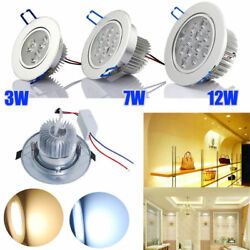 6-12pcs Round 3-12W LED Recessed Ceiling Panel Down Lights Bulb Lamp Indoor Home