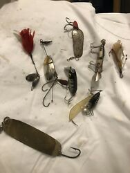 Collection Of Antique/vintage Fishing Lures - Some Rare Wood And Metal