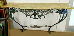 Antique French Rococo Style Scrolled Iron Console W61 Marble Onyx Attaches Wall