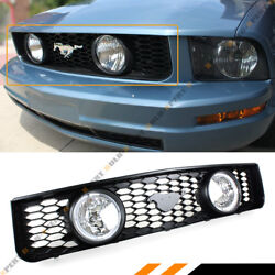 For 05-09 Ford Mustang 4.0l V6 Front Mesh Grill W/ Dual Halo Clear Lens Fog Lamp