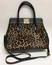 MICHAEL KORS ASTRID BLACK LEATHER LEOPARD PRINT CALF HAIR TOTE WITH WALLET