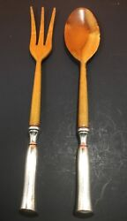 John Hasselbring Jh Sterling Silver And Wood Salad Fork And Spoon 42