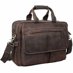 Crazy Horse Real Cow Leather Messenger Briefcase for 16 Inch Laptop School  Bag