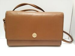 Auth COACH Phone Crossbody Smooth Leather 63154 Dark Brown Other Style Wallet