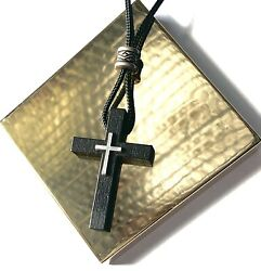 CROSS for Car Rearview Mirror Charm with Easy Adjustable Cord Black with silver $5.99