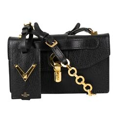 NWT VALENTINO Black Gold Rockstud Leather With Chain Strap Cross Body Bag $2245