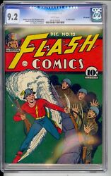 FLASH #12   CGC  9.2  NM-  EXCEPTIONAL WHITE PAGES!  PRE-WAR COVER  VERY SHARP!