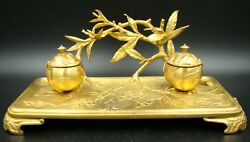 Art Nouveau French Gilt Bronze Inkstand Inkwell Desk Branches And Insects Signed