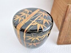 Japanese Lacquer Wooden Tea Caddy Gold Bamboo Kyoto Urushi Makie Middle Natsume