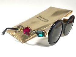 NEW VINTAGE MOSCHINO BY PERSOL M253  OVAL BLACK JEWELLED LADY GAGA 90 SUNGLASSES