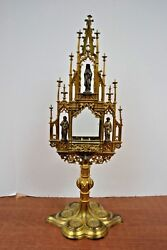 + Nice Older Traditional Gothic Monstrance + 20 1/2 Ht. + M66 + Chalice Co.