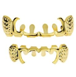 14k Gold Plated Grillz Set 4-Open New Curved Design With Notches Premade Grills