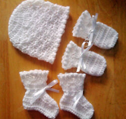 Handmade Hand Crocheted Baby Unisex Hat/mitts/bootees+shell Picot Asstd Colours