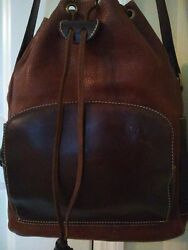 Vinatge GON HANDMADE BROWN LEATHER DRAWSTRING BUCKET CROSSBODY BAG