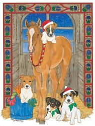 Jack Russell Terrier with Horse Christmas Card 5 x 7 with Envelope
