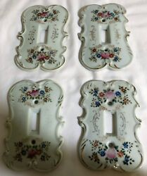 4 porcelain single light switch covers  Floral switch plates #7310 Japan made