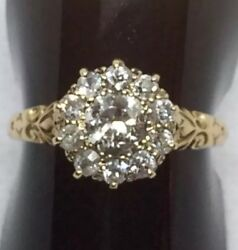 Antique 18ct Yellow Gold Old Cut Diamond Cluster Ring R.m Special Delivery