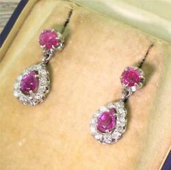 Mid Century 1.70ct Ruby And 0.40ct Diamond Pear Drop Earrings - 18k Gold - C 1970