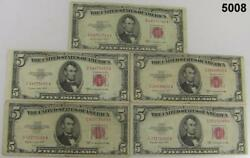 1953 B And C Red Seal United States 5 Notes Lot Of 15 Fine To Vf Condition 5008