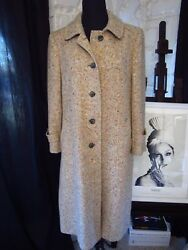 AUTH VINTAGE  CLASSIC TWEED BUTTON DOWN LONG COAT MADE IN DUBLIN IRELAND