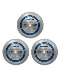 Oshlun Sbf-140120 14 X 120t Saw Blade W/1-inch Arbor For Mild Steel - 3 Pack