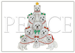 Westie West Highland Terrier Christmas Cards Set of 10 cards & 10 envelopes