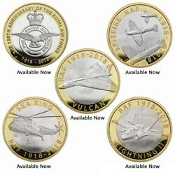 2018 New Sealed Andpound2 Raf 100th Anniversary Coins F-35 Vulcan Spitfire Bu Pack