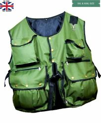 Falconry And Hunting Waistcoat Vest Olive Green Xxl And Xxxl Sizes Fully Adjust