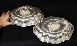 Finest Pair Antique Elkington Sheffield Silverplate Covered Vegetable Dishes