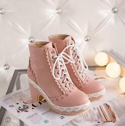 Magic Lolita Mary Jeans Womens Lace Up High Heel Block Ankle Boots Sweet Shoes