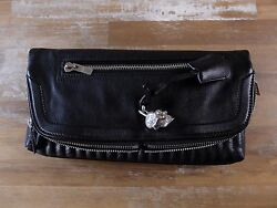 ALEXANDER MCQUEEN black skull padlock fold-over leather clutch bag authentic